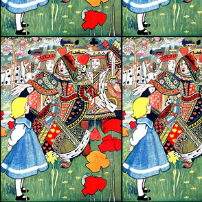 alice wonderland red queens kings soldiers knights playing cards fairy tales clubs spades hearts diamonds roses spades swords gardens houses vintage girls children royalty suits Lewis Carroll