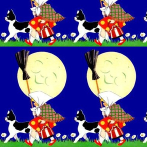 cats moon smiling girls grass flowers daisy daisies brooms kettle checker chequer polka dots stripes Halloween witches inspired vintage children night