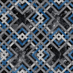 Cheater Quilt Carpenters Square Pattern Black Blue Grey