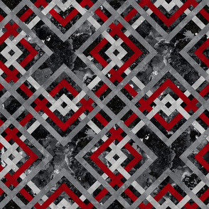 Cheater Quilt Carpenters Square Pattern Black Red Grey