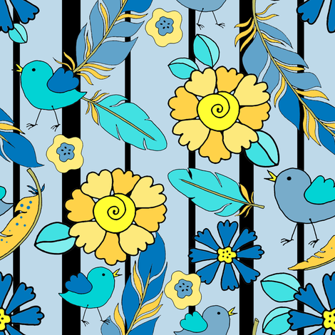 7_TK-5-Feathers_Baby_Bird_Flowers_Stripe-yellow_blue_300 fabric by doodledoer-teresakelly on Spoonflower - custom fabric