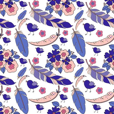 6_TK-2-_Feather_Bird_Flowers-Purple_Yellow_Brite_150-ch fabric by doodledoer-teresakelly on Spoonflower - custom fabric