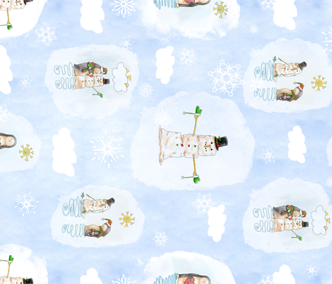 Penguin & Snowman Unisex Watercolor fabric by nicoledobbins on Spoonflower - custom fabric