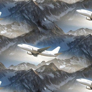 aircraft over mountains - painting effect
