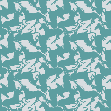 unicorn_teal_grey fabric by fabiennegood on Spoonflower - custom fabric