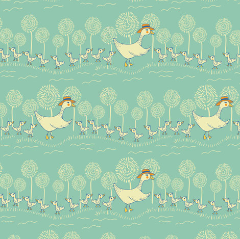 Mama Duck fabric by jacquelinehurd on Spoonflower - custom fabric