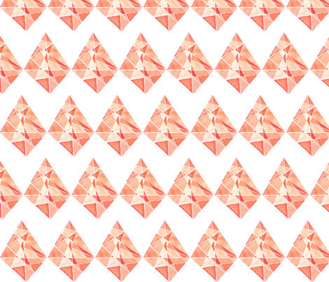 Rhombus Coral Stone in watercolor fabric by ikiyol on Spoonflower - custom fabric