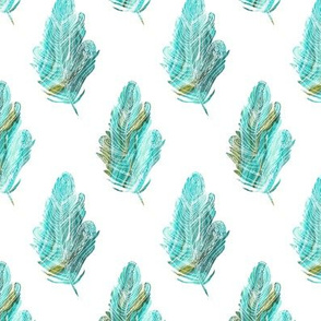 Fanciful Feather Aqua Green