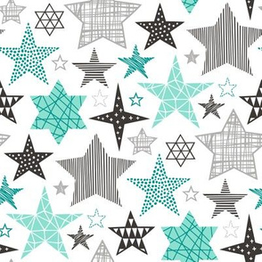 Stars Geometric Winter Fall Holiday Christmas Black & White Mint Green