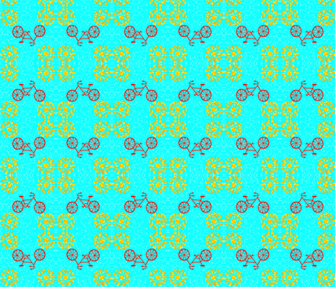 Orange_Bicycle_and_Flowers-ed fabric by fourraccoons on Spoonflower - custom fabric