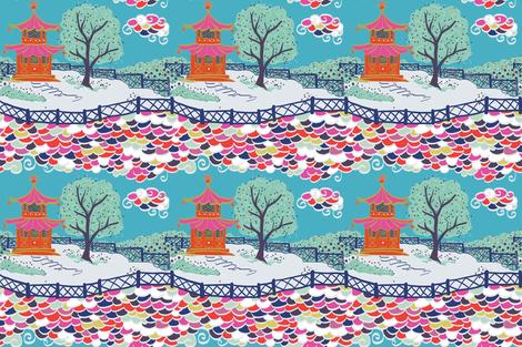 CLOUD PAGODA  in Vibrant fabric by danikaherrick on Spoonflower - custom fabric