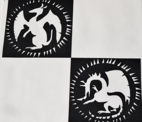 Black and White Dragon Checkerboard
