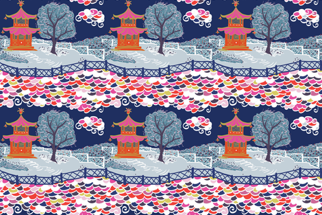 Cloud Pagoda at Midnight fabric by danika_herrick on Spoonflower - custom fabric