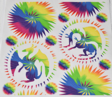 Rainbow Spiral Dragons on White