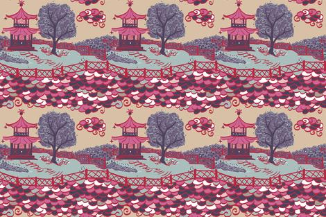 Cloud Pagoda in Plum Neutral fabric by danikaherrick on Spoonflower - custom fabric