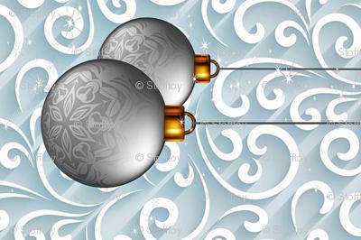 christmas baubles - tea towel - panel