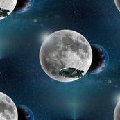 millennium falcon and moon