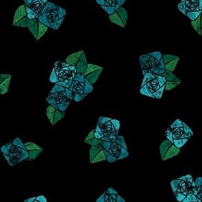 Craftsmen Square Roses Black Aqua