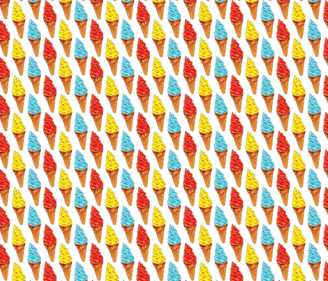 Red Yellow Blue Ice Cream fabric by kellygilleran on Spoonflower - custom fabric