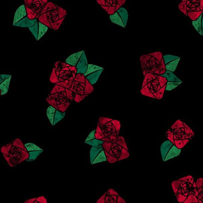 Craftsmen Square Roses Black Red