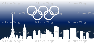 Tokyo Skyline with Olympic Rings