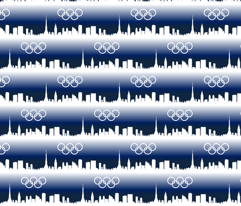 Tokyo Skyline with Olympic Rings fabric by lowa84 on Spoonflower - custom fabric