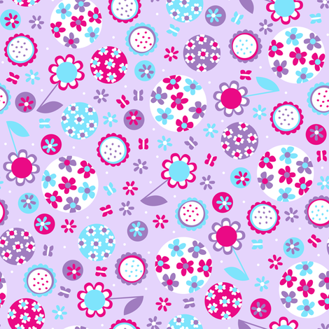 Garden Party (Purple) fabric by robyriker on Spoonflower - custom fabric