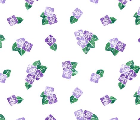 Craftsmen Square Roses White Purple fabric by wickedrefined on Spoonflower - custom fabric