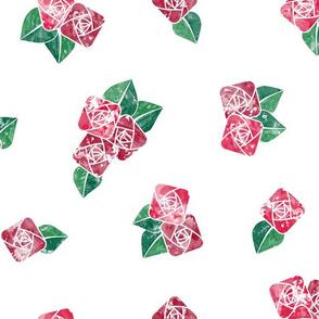 Craftsmen Square Roses White Red