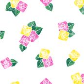 Craftsmen Square Roses White Yellow Pink