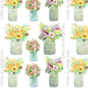 Pots mason et fleurs