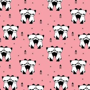 Origami animals cute panda geometric triangle and scandinavian style print black and white pink SMALL