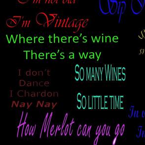 Wine quotes on black background