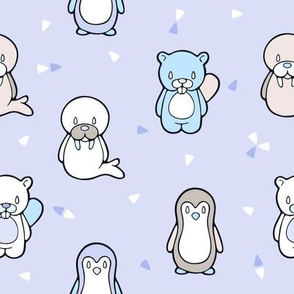 Happy Cute Penguin Beaver and Walrus