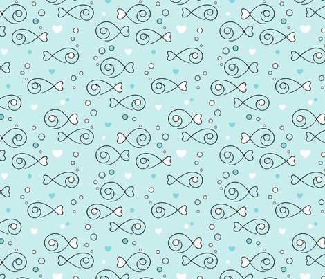 Fish Hearts in the sea fabric by nossisel on Spoonflower - custom fabric