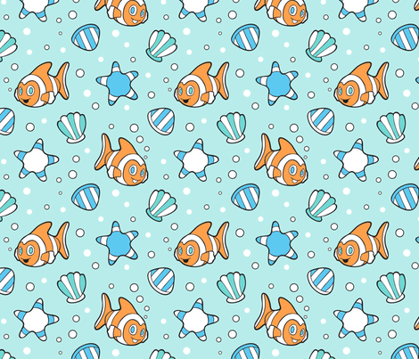 Clown Fish in the ocean fabric by nossisel on Spoonflower - custom fabric