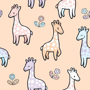 Happy Cute Giraffes with flowers