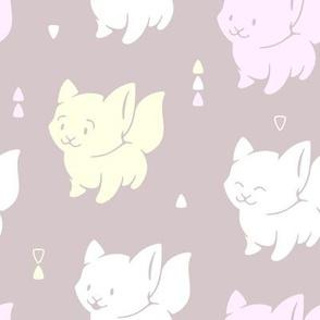 Cute Happy Kittens on grey