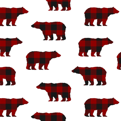 Buffalo Plaid Bears // Medium fabric by thinlinetextiles on Spoonflower - custom fabric