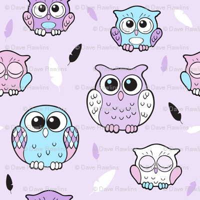 Cute Happy Owls and feathers