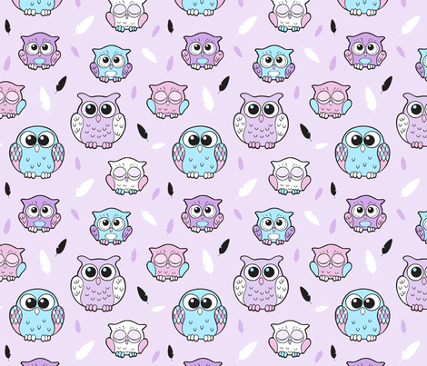 Cute Happy Owls and feathers fabric by nossisel on Spoonflower - custom fabric
