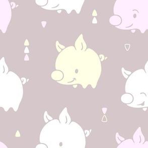 Cute Happy Pigs on grey