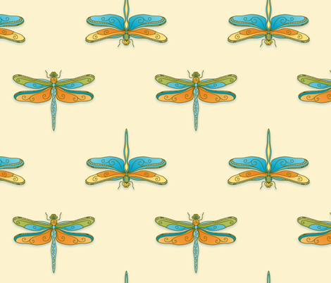 Elegant dragonflies fabric by designed_by_debby on Spoonflower - custom fabric