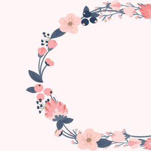Blue and Pink Floral Wreath
