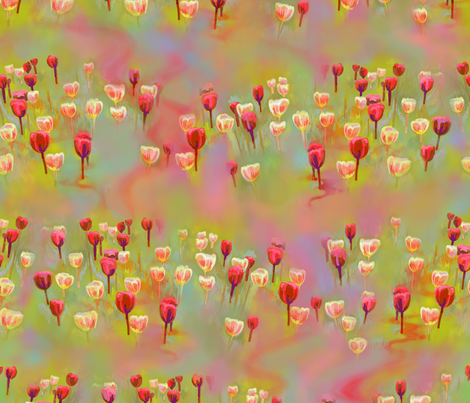 Tulips - red and yellow-green fabric by designed_by_debby on Spoonflower - custom fabric