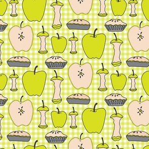 Yellow Green Apple Pie Gingham || Back to School Fruit Food Teacher Check American Lime Gray grey _Miss Chiff Designs