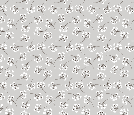 cottony forest heather blooms gray neutral flower design fabric by deniseanne on Spoonflower - custom fabric