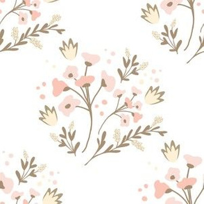 baby floral soft pink cream heather bunch design