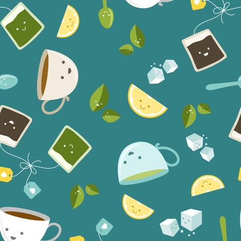 Best Tea Friends - Teal fabric by robinskarbek on Spoonflower - custom fabric