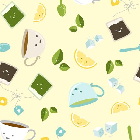 Best Tea Friends -  Yellow fabric by robinskarbek on Spoonflower - custom fabric